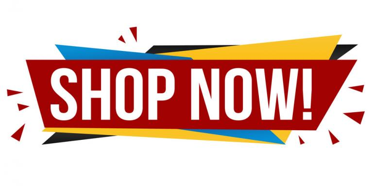 A red, blue and yellow graphic illustration featuring the text: Shop Now!