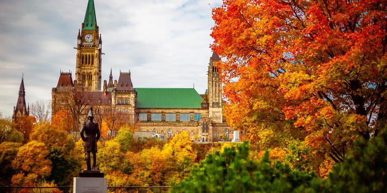 Photo of the Parliament of Canada with fall leaves in the foreground.